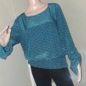 Dana Buchman XL blouse top pullover teal